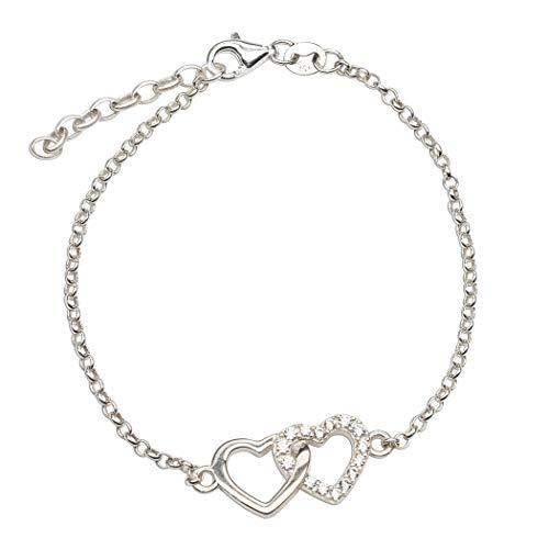 """Dainty Sterling Silver Double Heart Bracelet (7-8"""" adjustable)"""