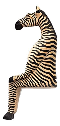 Fair Trade Handcarved Wood Seated Zebra Small Shelf Sitter (Zebra Accent)