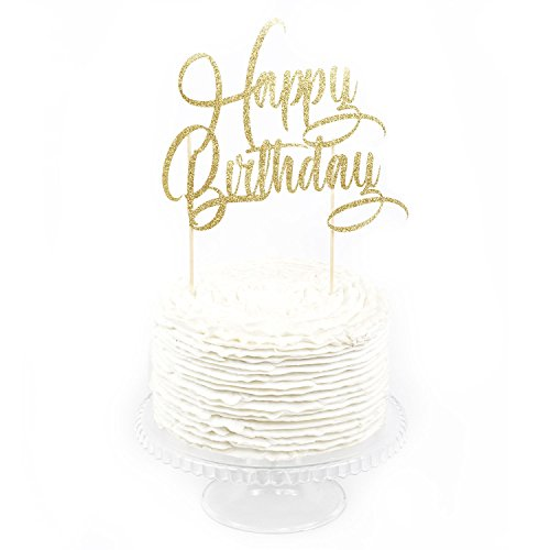 HAPPY BIRTHDAY Gold Glitter Cake Topper Antique Wedding Cake Toppers