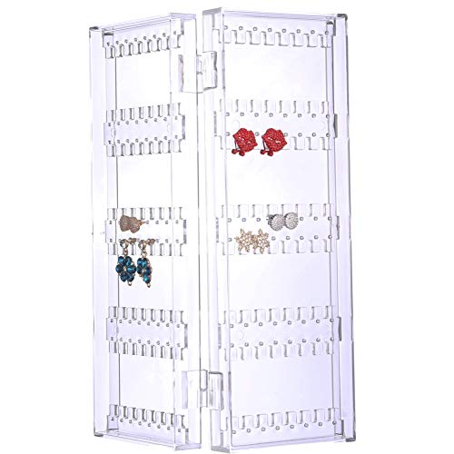 64 Glass Tower Display - Sooyee 128 Holes 5 Tiers Acrylic Earrings Holder 2 Doors Foldable Necklace Hanging Jewelry Organizer Double Sided Stand Display,Clear