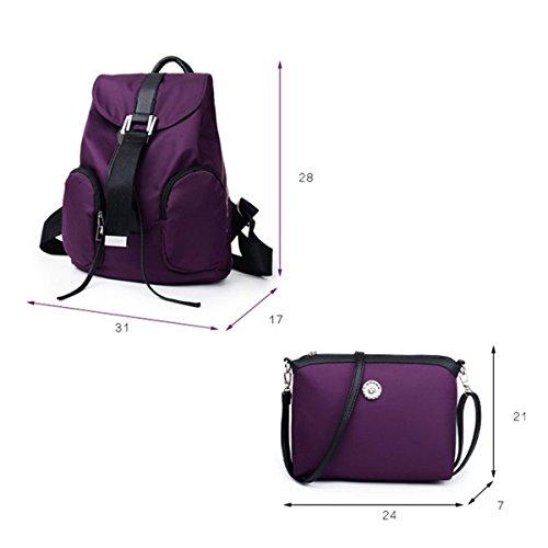 Mujer Nylon Mochila Juego De Tres Piezas Nuevo Estilo Ocio Gran Capacidad Práctico Bolso Purple