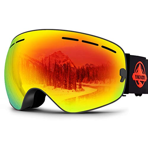 6e5384462248 YAKAON Y1 Ski Snowboard Snow Goggles with UV Protection Anti-Fog Spherical  OTG Anti-