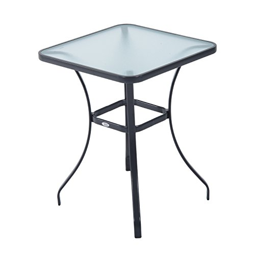 "Outsunny 34"" Outdoor Glass Top Bistro Table - Black"