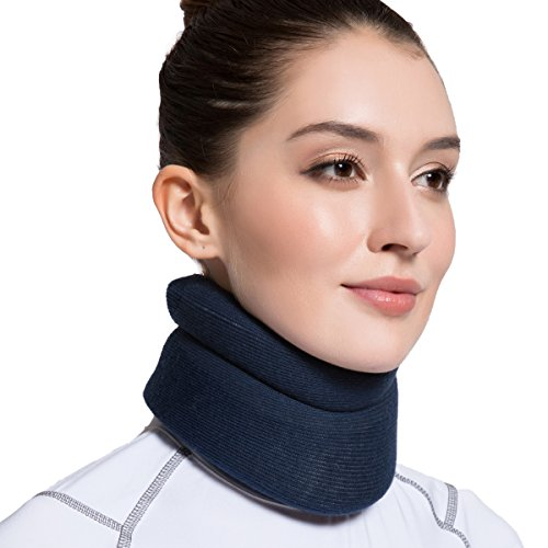 Velpeau Neck Brace -Foam Cervical Collar - Soft Neck Support Relieves Pain & Pressure in Spine - Wraps Aligns Stabilizes Vertebrae - Can Be Used During Sleep (Comfort, Blue, Large, 3.5″)