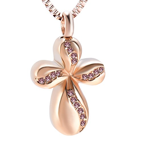 Gold Cremation Urn Necklace Fancy Flower Cross Pendant For Mom Keepsake Ashes Holder Jewelry Gifts (Rose Gold Pink)