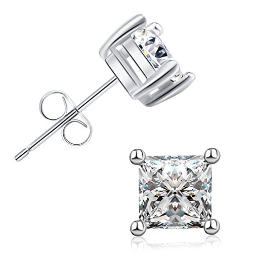 (Princess Cut Earrings AAA+ Cz Cubic Zirconia 18K White Gold Plated Unisex Stud Earrings)