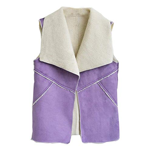 Femme Gilet Printemps Automne Outerwear Dcontract Vtements Confortable Trendy Manteau sans Manches Patte De Boutonnage Vest Jacket Coat Lilas