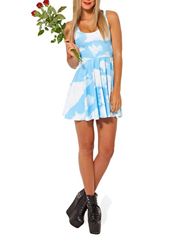 SOTW Fashion Summer Pleated Knee-length Reversible Spandex Skater Sun Dress for Women, Clouds