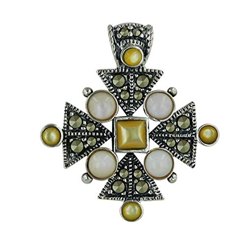 Sterling Silver and Marcasite Mother-of-Pearl Pendant - Of Mother Cross Marcasite Pearl