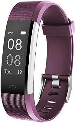 YAMAY Pulsera Actividad con Pulsómetro Mujer Hombre, Monitor de Actividad Deportiva, Ritmo Cardíaco, Impermeable IP67, Reloj Fitness, smartwatch con Podómetro, Color Púrpura: Amazon.es: Deportes y aire libre