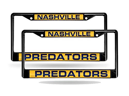 Nashville Plate License Frame Predators - Nashville Predators Black Metal (2) Laser License Plate Frame Set