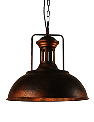 Lmans Vintage Industrial Nautical Barn Pendant Light Single Pendant Lamp with Rustic Dome/Bowl Shape Mounted Fixture Ceiling Light Chandelier in Copper 1-Light with Chain