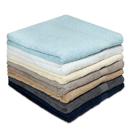Cotton Craft - 7 Pack Multi Color Bath Towels- 100% Ringspun Cotton- 27 x 52 inches -Light Weight 450 Grams- Quick Drying & Absorbent- Colors - Ivory, Light Blue, White, Linen, Mercury, Charcoal, Navy