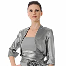 Luxury Divas Dressy Satin 3/4 Sleeve Bolero Shrug Jacket