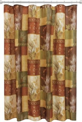 Bacova Guild Pine Cone Silhouettes Fabric Shower Curtain Designed by Cynthia (Pine Cone Shower Curtain)