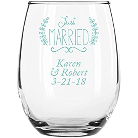 144 Pack Personalized Color Printed 9 Ounce Stemless Wine Glass Just Married Robins Egg Blue