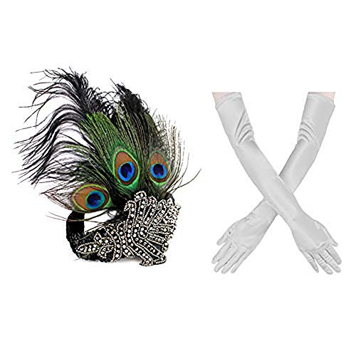 1920s' Vintage Flapper Accessories Set Peacock Rhinestone Headband, Sliver Gloves Halloween Gatsby Theme Party -