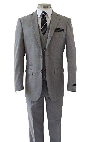 Alberto Cardinali Men's Sharkskin 3-Piece 2 Button Slim-Fit Suit w/ Matching Vest [Color: Light Gray | Size: 50 Regular / 44 Waist] by Alberto Cardinali (Image #1)