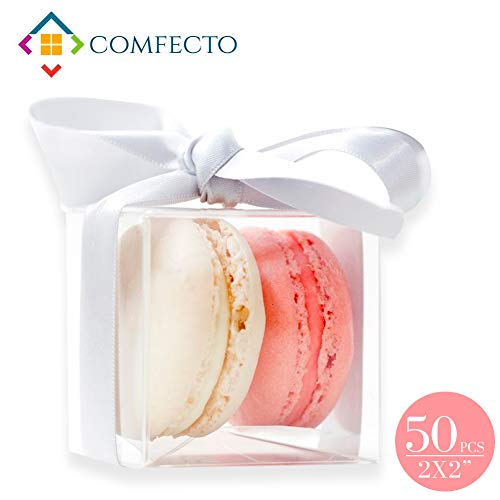 COMFECTO 50 Pcs 2x2x2 Inch Clear Crystal Plastic Tuck Top PVC Favor Boxes for Mini Macaroons Cupcakes Chocolates Candy Wedding Birthday Baby Shower Souvenir Packaging, Transparent