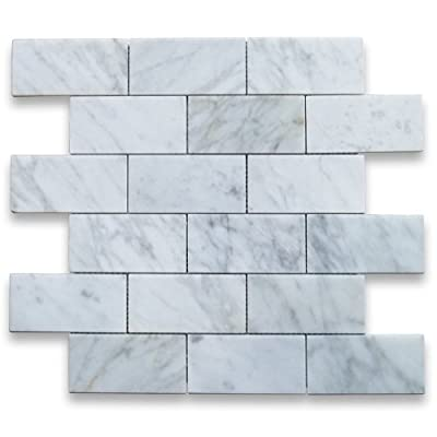 Carrara White Italian Carrera Marble Subway Brick Mosaic Tile 2 x 4 Polished by Stone Center Online