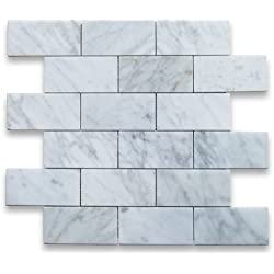 Carrara White Italian Carrera Marble Subway Brick Mosaic Tile 2 x 4 Polished