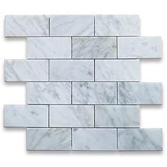 Premium Grade 2x4 White Carrara Marble Subway Mosaic tiles. Italian Bianco Carrera White Venato Carrara Polished 2 x 4 Brick Mosaic Wall & Floor Tiles are perfect for any interior/exterior projects. The 2x4 Carrara White Marble Subway Bri...