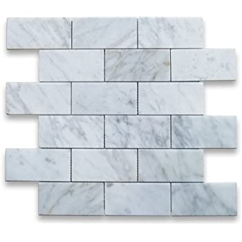 Carrara White Italian Carrera Marble Subway Brick Mosaic Tile 2 X 4 Polished