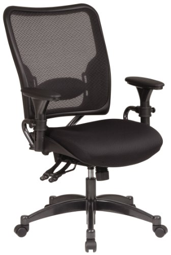 Finish Accents Gunmetal - SPACE Seating Professional Dual Function Ergonomic AirGrid Back and Mesh Seat Office Chair with Gunmetal Finish Accents, Black
