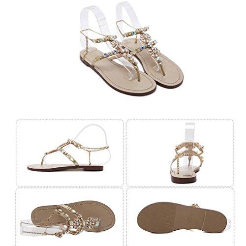 Bequeme Sandalen Gladiator Flat Strap Damen Glänzende Sandaletten Golden Damenschuhe Dasongff Sandalen Zehentrenner T Bohemian Strass Sommer Schuhe U6xpwx7