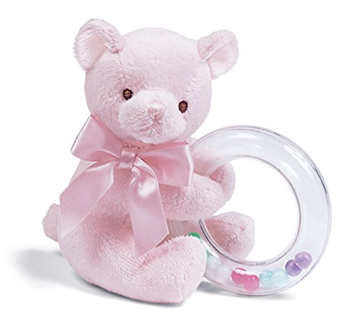 Bearington Baby Dottie Pink Teddy Bear, Baby Rattle, 5