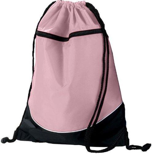 Light Pink/Black/White Sports Lightweight Drawstring Backpack with Zippered Pocket (Bag Sport Tri Color)