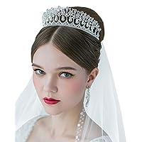 SWEETV Royal Pearl Tiara Vintage Rhinestone Crown Joyería nupcial Accesorios para el cabello de la boda, plateado