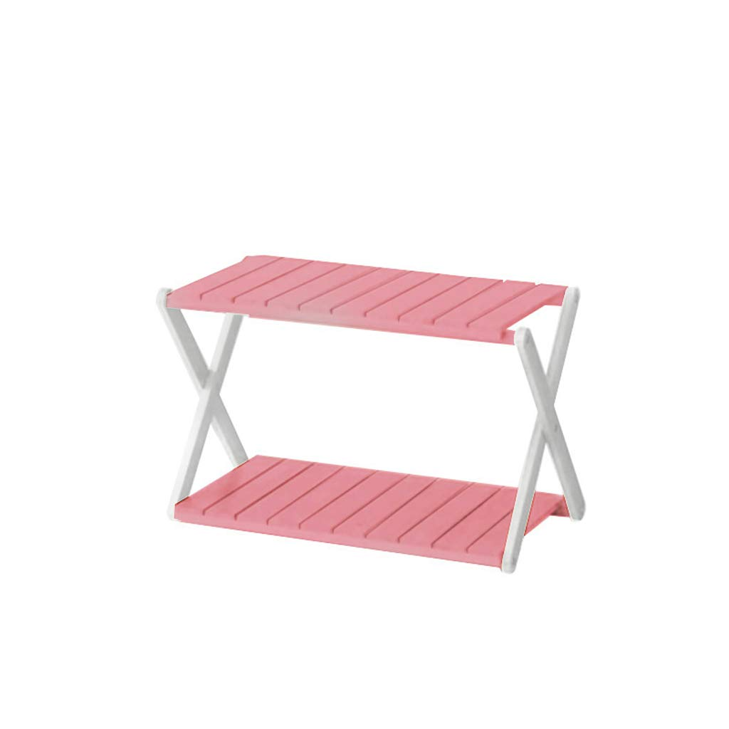 WYY Flower Stand Potted Rack Floor-Standing Solid Wood Shelf Simple Folding 2 Layers Flower Shelf (Color : Pink) by WYY
