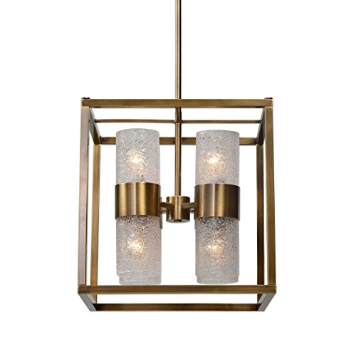 Art Deco Geometric Cube Brass Glass 8 Bulb Pendant Light | Contemporary Square Gold Chandelier Fixture