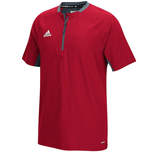 adidas Mens Fielder's Choice Cage Jacket, Power Red/Onix Grey, X-Large