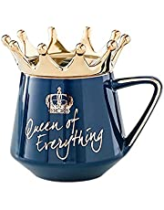 Aoten Queen of Everything Mug with Crown Lid and Spoon Ceramic Coffee Cup Gift for Girlfriend Wife