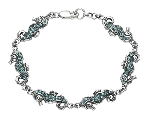 Sterling Silver Seahorse Bracelet w/Aqua Crystal Stones by Wild Things