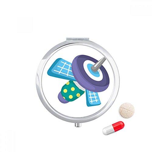 Universe Alien Monster Satellite Travel Pocket Pill case Medicine Drug Storage Box Dispenser Mirror Gift (Storage Satellite)