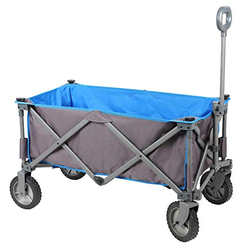 PORTAL Collapsible Folding Utility Wagon Quad Compact Outdoor Garden Camping Cart with Removable Fabric (Removable Fabric, Grey/Blue)