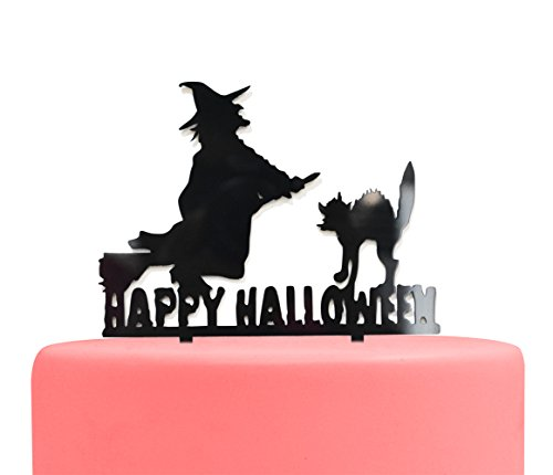 Firefairy(TM) Happy Halloween With Witch And Cat Sign Acrylic Cake Topper for Halloween Party Decorations