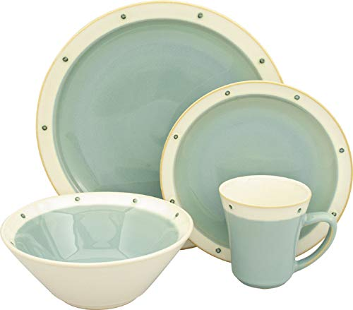 Sango 16 Piece Newport Dinnerware Set, Aqua