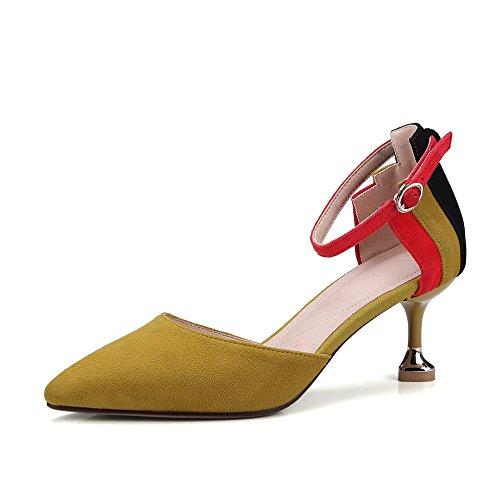 Colorblocked Cuir Sandales Mode de Sauvage Talons Coeurs Boucles de Hauts yellow Talons Chat DKFJKI Pêche dE5wqSxI7E