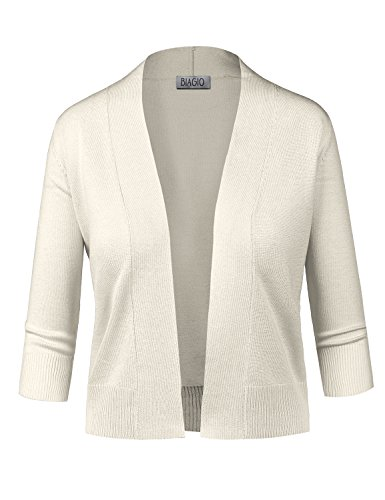 BIADANI Women Classic 3/4 Sleeve Crop Cardigan Ivory Large