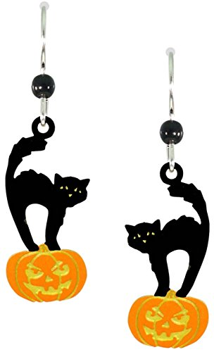 Sienna Sky Black Cat on Halloween Pumpkin Earrings 1639 ()