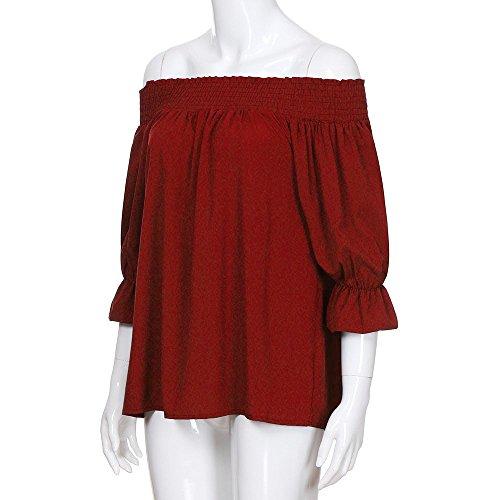 Longues Slash Bow paule Hors T Blouse Manches Top Bouffantes Rouge col Bandage Femmes Shirts Bardot MuSheng wx7qSS