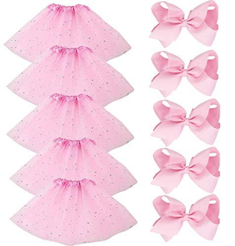 BGFKS 5 Pack Tutu Skirt for Girl Ballet Dance Costume Dress Up Girl Tutus (Star-Pink) -