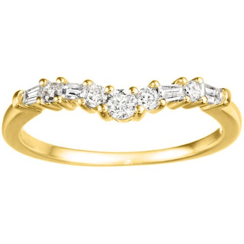10k Yellow Gold Fine Curved Wedding Band set with Diamonds G-H I1-I2 (0.33ct. twt.)