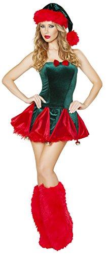 - Roma Costume Women's 1 Piece Naughty Elf, Green/Red, Medium/Large