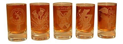 Crystal Thistle - Collins Glencairn Clan Crest Crystal Dram Tot Glass - Crest Map Shield Scottish Thistle Piper