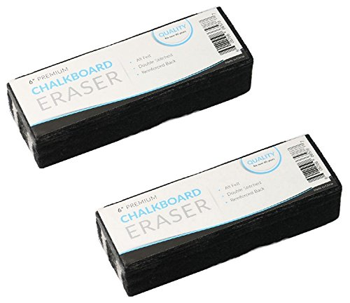 Traditional Chalkboard Eraser, All Felt 6 Inch Premium Quality Chalk Eraser, Set of 2 (2 Pack) by kedudes (Image #1)